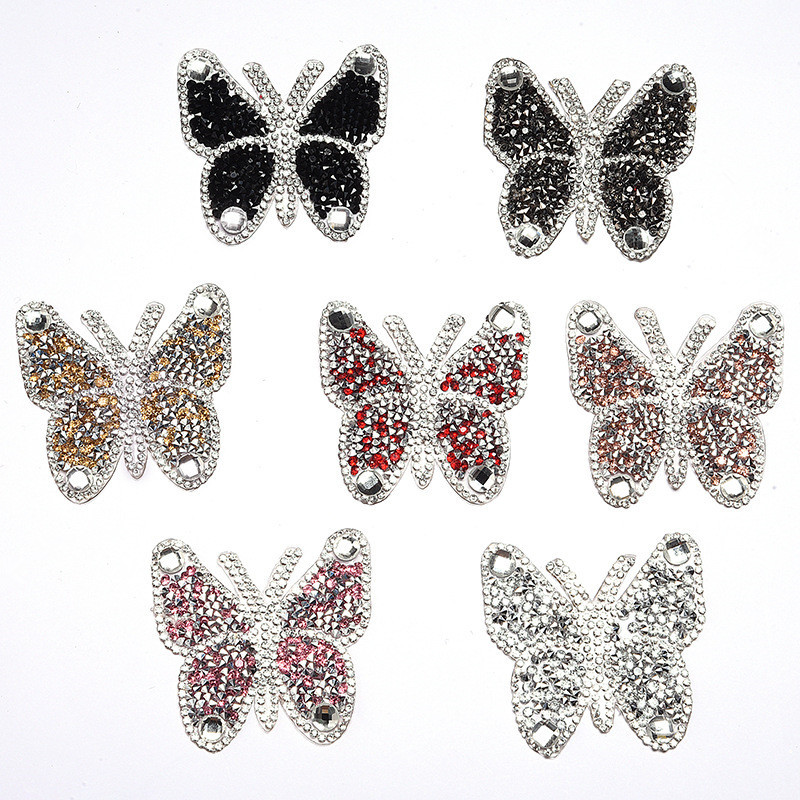 2pcs Iron On Butterfly Rhinestone Patches Thermo Stickers On Clothes Colorful Butterfly Patches Can Be Used In T-shirt