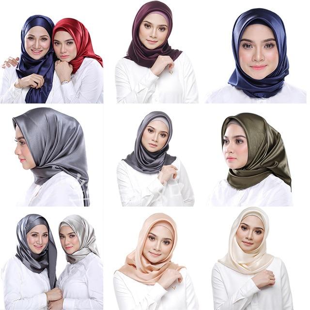 Мусульманский шелковый шарф 90*90 см, хиджаб, Женский мусульманский платок, чистая шаль, платок для головы, женский шарф, квадратный