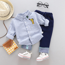 Spring Baby Boy clothes sets long sleeve shirt + pants suit outfits infant baby casual clothing 1 year birthday babies sets cheap BarbieRabbit COTTON Polyester Herringbone REGULAR Turn-down Collar Baby Boys Coat L-6065 Full cartoon Single Breasted