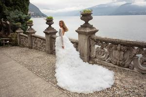 Image 4 - 2020 Sexy col en V profond robes de mariée volants à plusieurs niveaux Tull Tain robe de mariée une ligne à manches longues robes de mariée