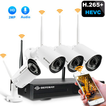 цена на H.265+ 8CH 1080P HD Wireless NVR Kit Wifi Security Camera System 2MP Audio Record Outdoor CCTV IP Camera Video Surveillance Set