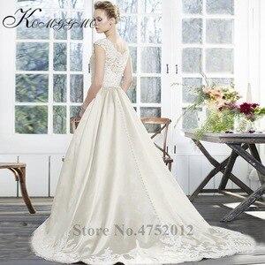 Image 4 - Vestidos De Novia 2019 New Simple Design Lace Appliques A Line Wedding Dress Elegant Sleeveless Court Train Bridal Gown