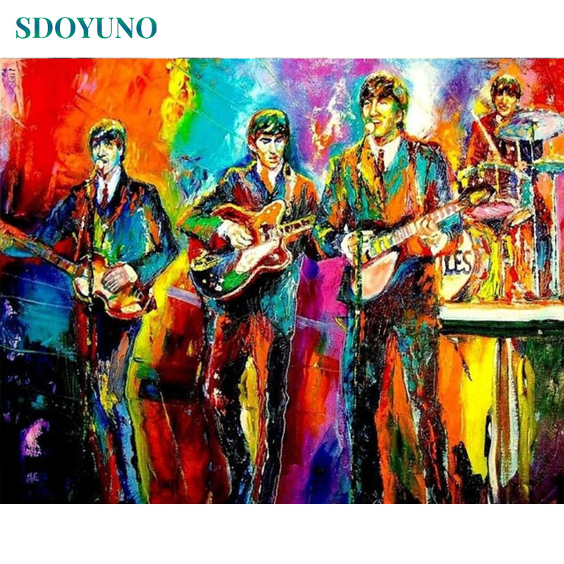 SDOYUNO 60x75cm Acrylic Paint By Numbers For Adults Rock Band Frameless Oil Painting By Numbers On Canvas DIY Home Decor