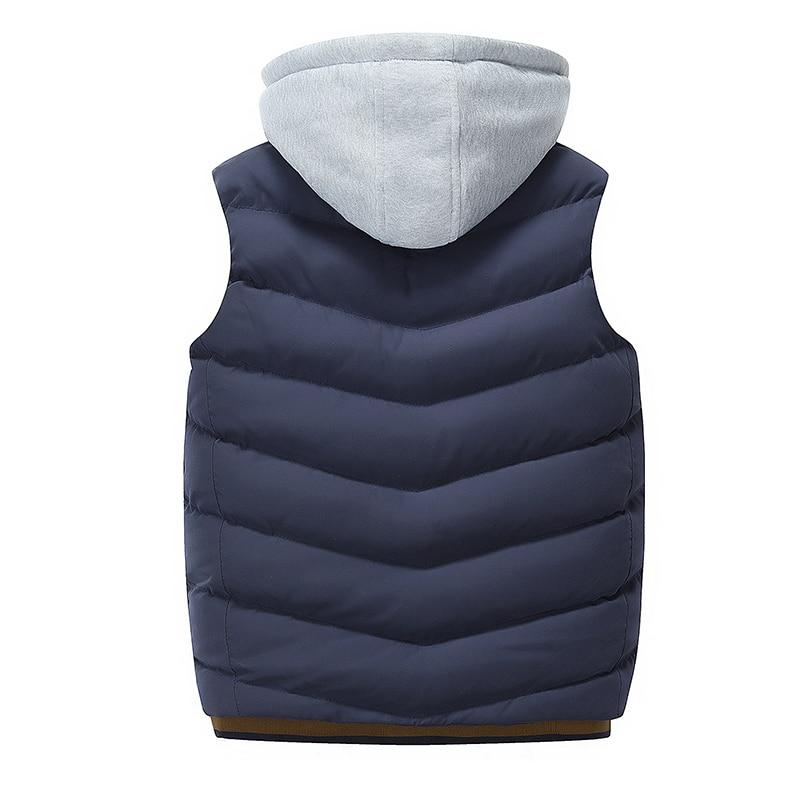 Image 3 - 2019 Men Vest Jackets Autumn Winter Warm Waistcoat Casual Hooded  Sleeveless Vest Coats Fashion mens thick parkas waistcoatsVests