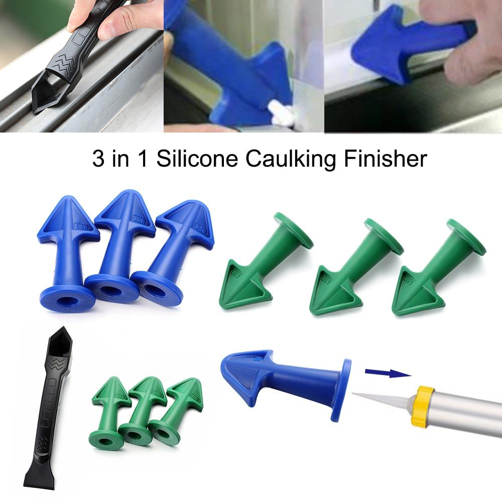 3PCS Silicone Caulking Finisher Sealant Cement Scraper Nozzle Spatulas Tools US