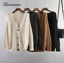 Hirsionsan Soft Knitted Cardigan Women 2020 Autumn Winter Korean V Neck Khaki Sweater for Girls Chic Oversized Ladies Clothes