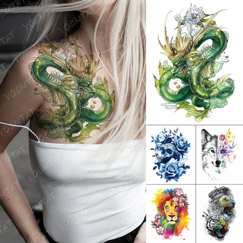 Tatuaje temporal a prueba de agua pegatina verde dragón nube demonio Flash tatuajes cráneo León arte corporal brazo Tatuaje falso mujeres hombres
