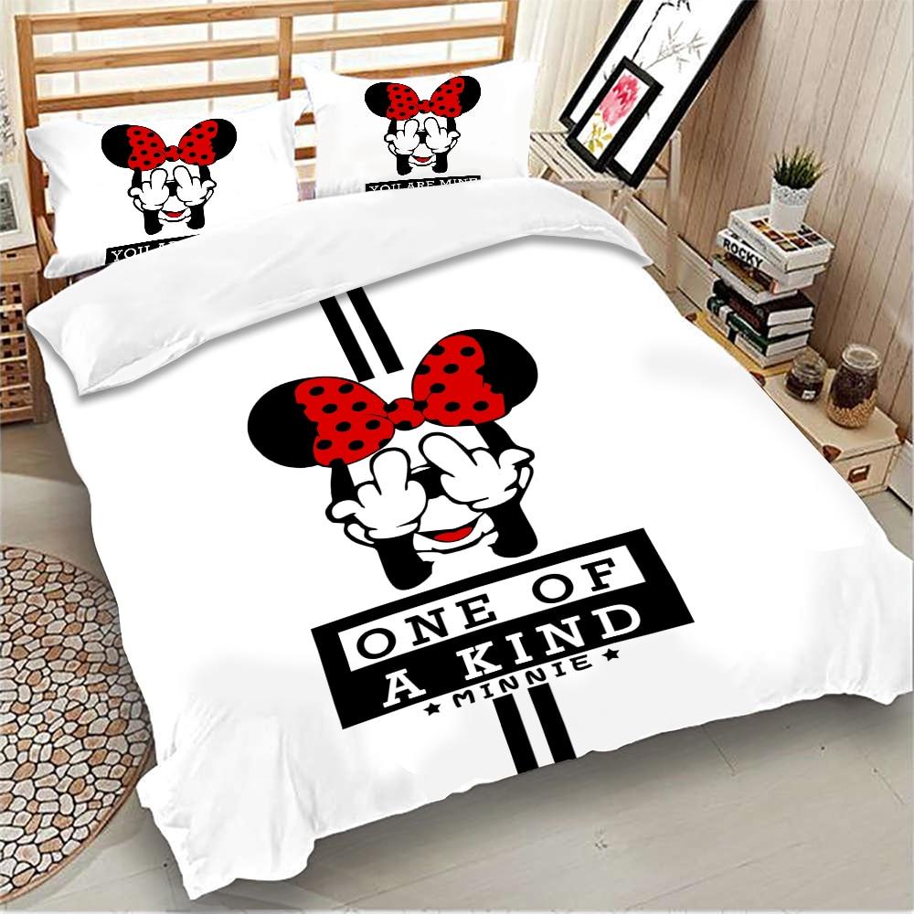 Minnie Bedding set Disney Kids Duvet Cover Pillowcases Twin Full Queen King Size girls beddings home Textiles 3pcs