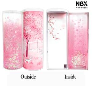 Image 5 - Newmebox Pink Pencil Case Kawaii Fallen Flower Pen Box School for Girl Plastic Stationery Romantic Cherry Blossom Back To School