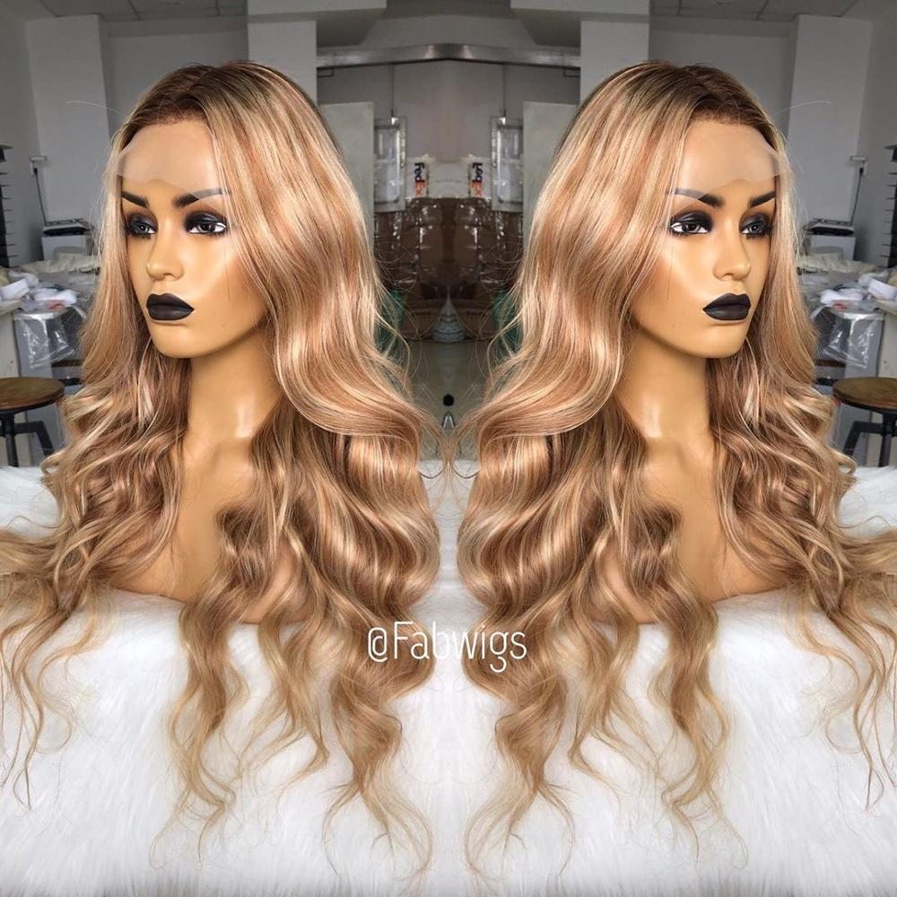 Fabwigs 180% Density Highlight Lemi Color T4/27/613 Lace Front Human Hair Wigs Pre Plucked European Ombre Blonde Front Lace Wigs