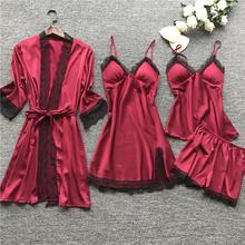 Womens Pajamas Mid-length 4-Piece Sling Sexy Set Comfortable Casual Home
