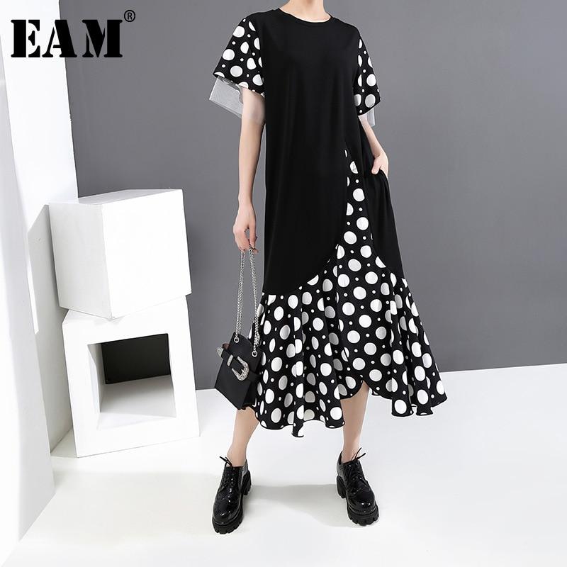 [EAM] Women Black Dot Printed Mesh Ruffles Midi Dress New Round Neck Short Sleeve Loose Fit Fashion Spring Summer 2020 1U128