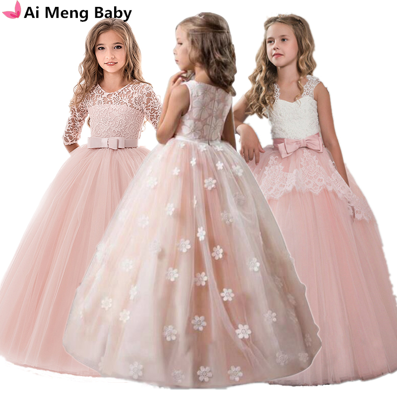 Dress Long-Gown Flower-Girls Party-Pageant Wedding-Evening Formal Vintage Princess Children title=