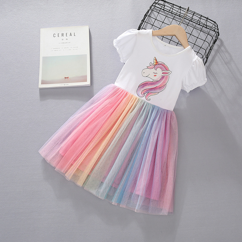 <font><b>Girl</b></font> <font><b>Dress</b></font> Unicorn Costume Summer Princess <font><b>Girls</b></font> Unicorn <font><b>Dresses</b></font> Children Clothing 4 5 <font><b>6</b></font> <font><b>7</b></font> 8 9 <font><b>Years</b></font> <font><b>Birthday</b></font> Outfits Clothes image