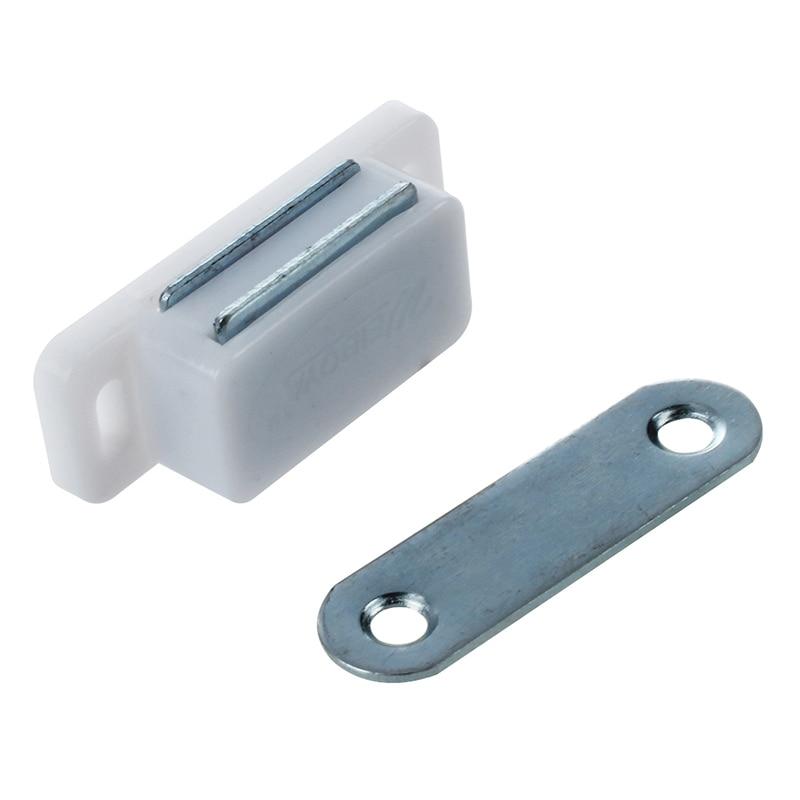 "Cabinet Door Hardware White Base 1.8"" Long Single Magnetic Catch"