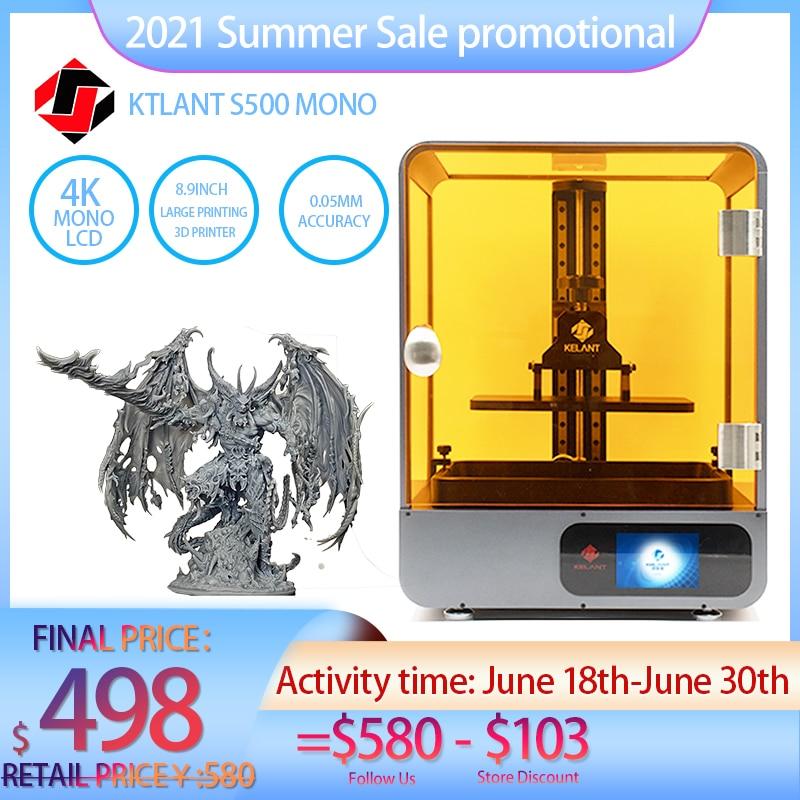 3D-принтер KELANT S500, SLA Mono, 8,9 дюйма, 4K, монохромный ЖК-дисплей, большой размер печати 192*120*200 мм, полимерные 3D-принтеры, impresora 3d 3d принтер impressora 3d 3d п...