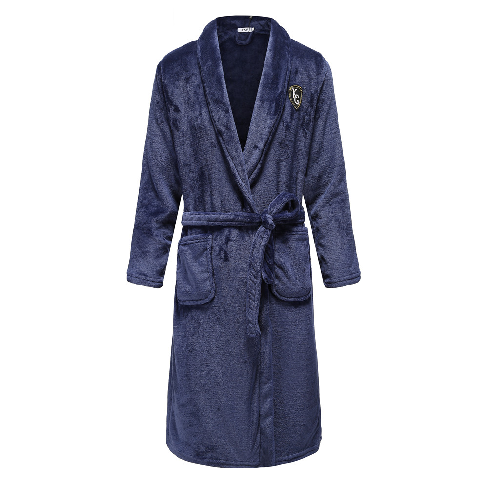 Elegant Solid Men Flannel Keep Warm Flannel Kimono Robe Gown Intimate Soft Sleepwear Bath Gown Casual Full Nightgown Plus Size