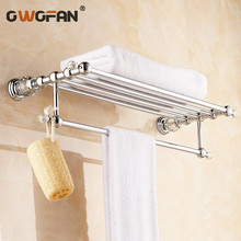 цена на Free shipping Wall Mounted Brass & Crystal Golden Towel Rack, Gold Towel Bar,Towel Holder Bathroom Accessories 4574