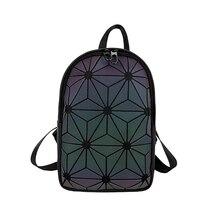 NEW Women Backpack Luminous Geometric Plaid Sequin Female Backpacks For Teenage Girls Bagpack Ladies Shoulder Bag