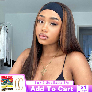 Headband Wig Human Hair Straight Brazilian No Glue Ombre Headband Human Hair Wig For Black Women Remy 150% Highlight Wig Vrvogue