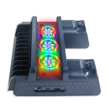 For PS4/Pro/Slim Vertical Stand with Cooling Fan Cooler Dual Controller Charger Charging Station Colorful LED for Playstation 4
