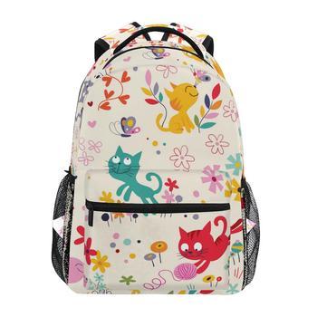 ALAZA school bags for girls boy cartoon animals cat Backpacks Children bag women Big Capacity weekend female notebook - discount item  20% OFF School Bags