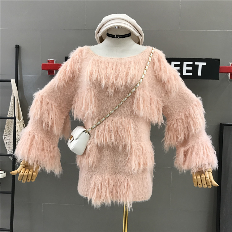 High Quality Autumn Women Temperament Tassels Designer Slouchy Knitting Round Neck Casual Loose Sweater Jumper Pullover Sweaters