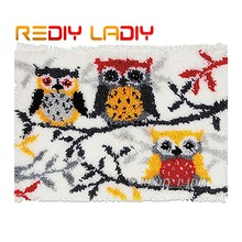 Latch Hook Rug Kit Crocheting Carpet Rug Owl Family Tree Acrylic Yarn Pre-Printed Canvas Cushion Mat DIY Crochet Tapestry Crafts(China)