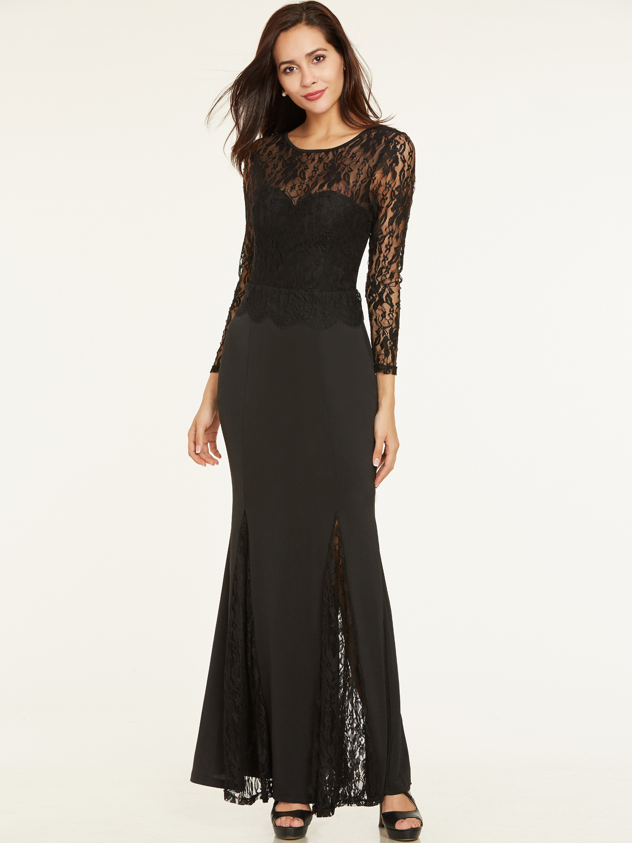 Dressv Lace Long Evening Dresses Black Scoop Neck Full Sleeves Floor Length A Line Gown Women Sexy Backless Formal Evening Gown