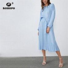 ROHOPO Round Collar Long Sleeve Sky Blue Cotton Midi Dress Solid Autumn Ladies Belted Accordion Maxi Mia Calf Vestido #9339 sky blue half sleeve maxi dress