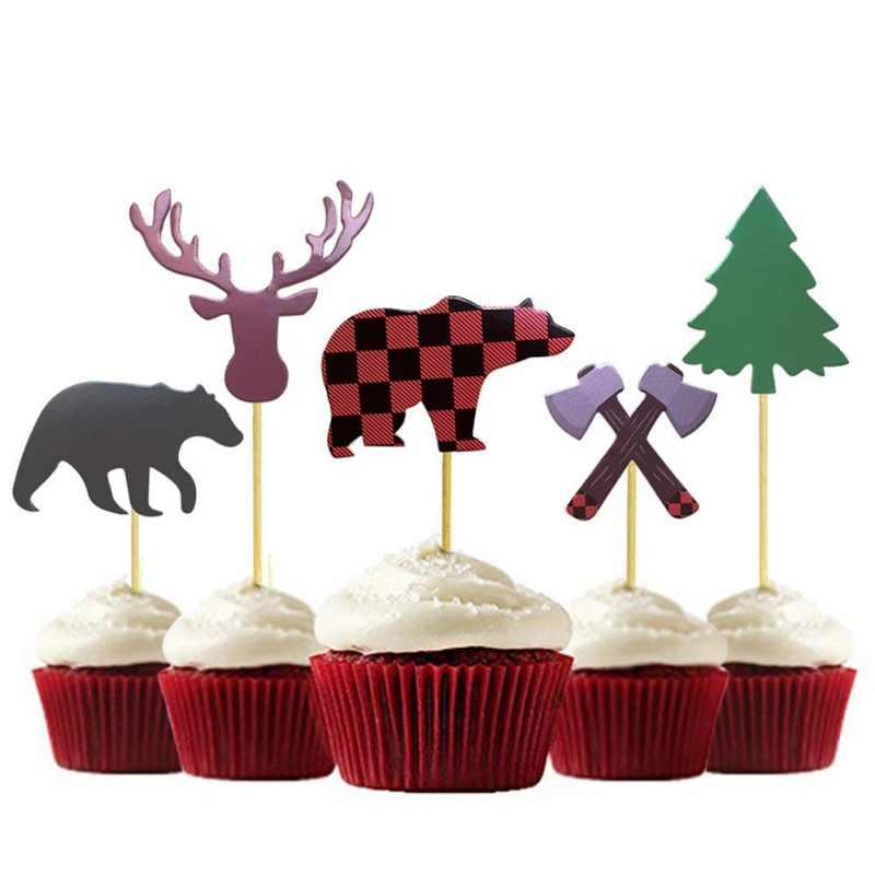 Lenhador Séries Tema Bolo Insert Animal Da Selva Série Do Partido Decoração Do Bolo De Aniversário Do Miúdo Do Presente Do Partido