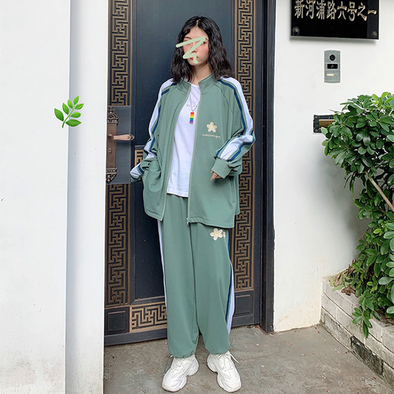 Milinsus Women Sweatshirt Floral Harajuku Striped Tracksuit Student Joggers Suit Top And Pants 2 Piece Sets Female Outfits Green