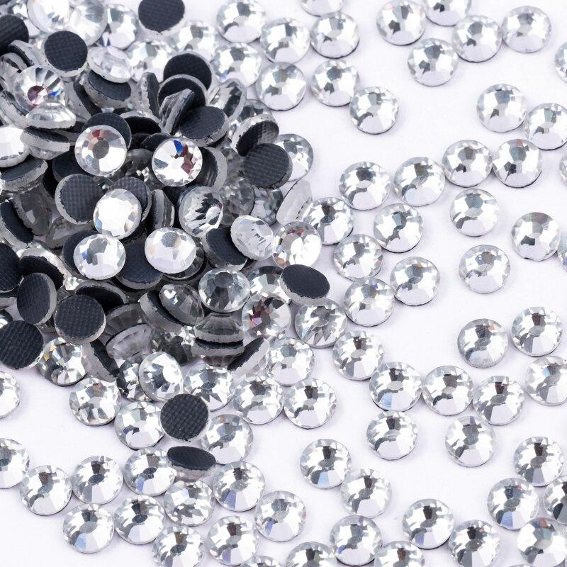 Top Qualität Besser DMC Klar Hotfix Strass Super Helle Glas Strass Eisen Auf Kristall Hot fix Strass Für Stoff Garment