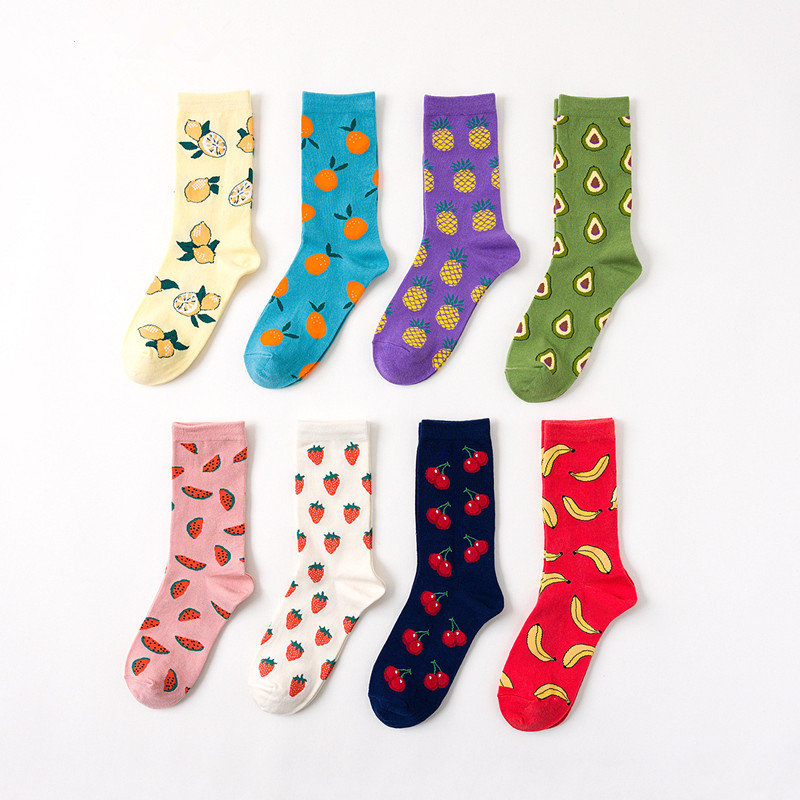 Creative Trend Women Socks Fashion New 2019 Autumn Wild Printing Happy Students Cute Preppy Style Cotton Solid Crew Socks Women