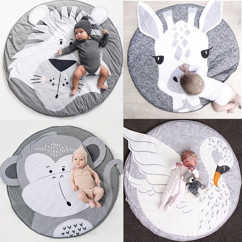 Play Mat Cartoon Animal Baby Mat Newborn Infant Crawling Blanket Cotton Round Floor Carpet Rugs Mat For Kids Room Nursery Decor