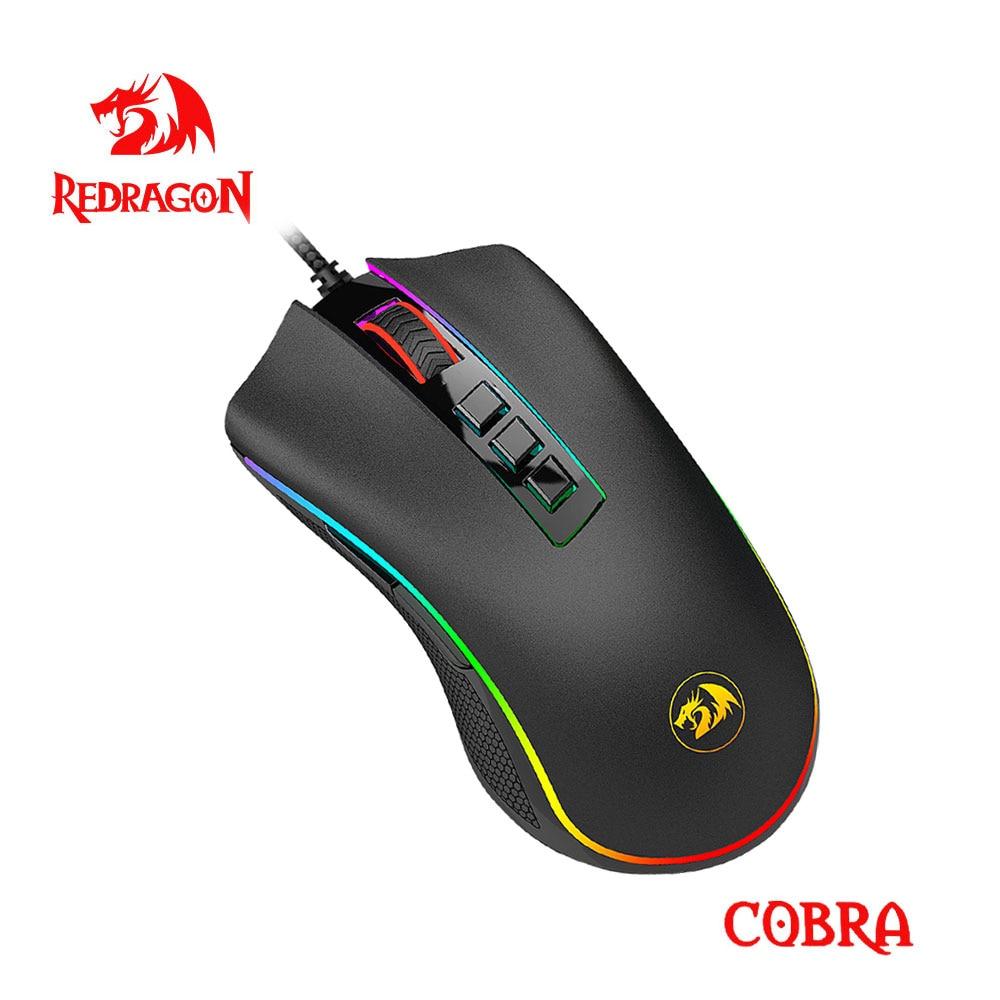 Redragon COBRA M711 RGB Проводная игровая мышь USB 10000 Точек на дюйм 9 кнопки мыши программируемый эргономичная клавиатура для компьютера ПК геймер