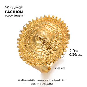 Image 2 - Wando anillo etíope de Color dorado para mujer, anillos redondos con monedas para mujer, sortija de boda de Moda Africana de Arabia de Oriente Medio