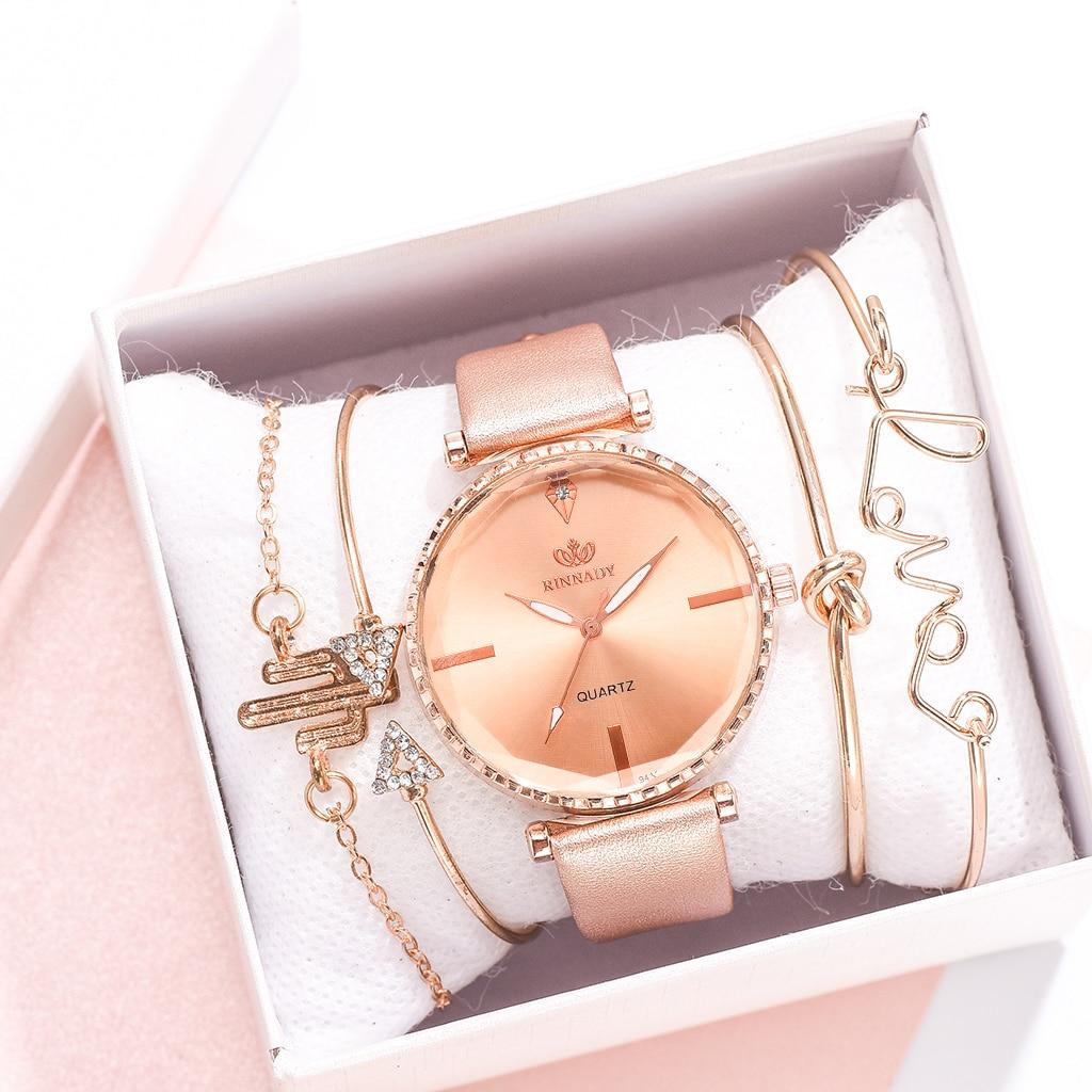 Montre-bracelet analogique en cuir pour femmes