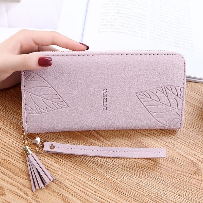Womens Wallets Embossed leaves PU Leather Wallet Femal Red/Green/black/gray Long Women Purse Large Capacity Bag Women's Wallet