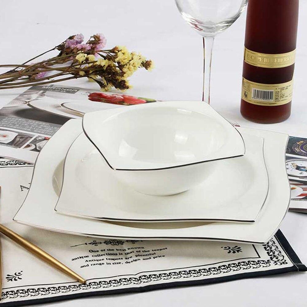 YeFine vaisselle en porcelaine à os avancé | Assiettes à dîner carrées plats de haute qualité service de vaisselle en céramique blanche bols à soupe - 2