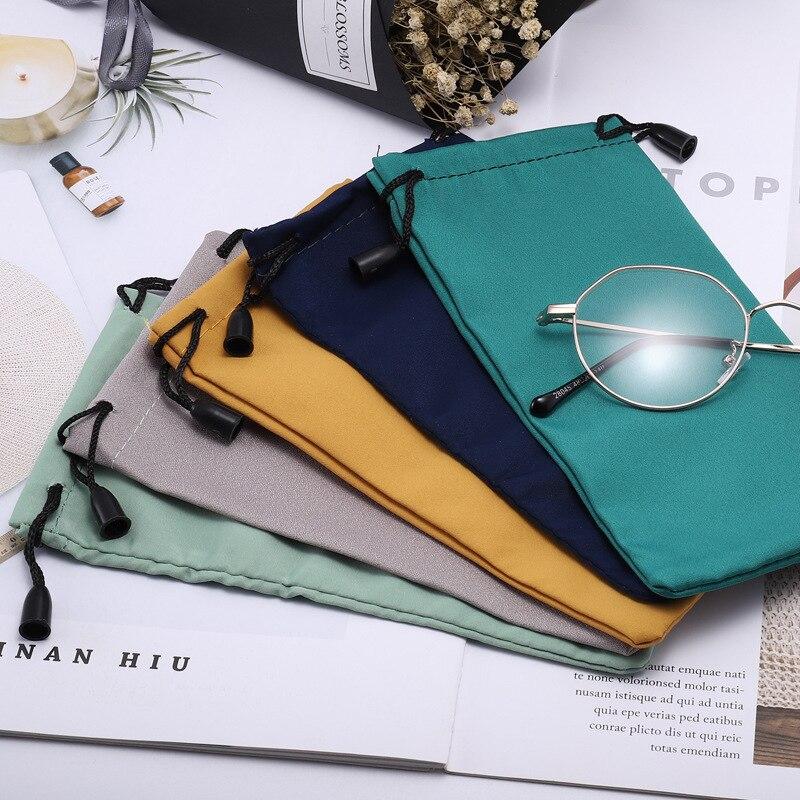1pc/5pcs/set Sunglasses Bag Portable Drawstring Eyeglasses Soft Microfiber Solid Color Glasses Cloth Bags Glasses Accessories