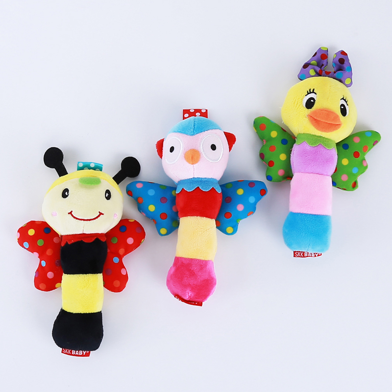 Newborn Baby Infant Hand Bell Handbell Sound Spin Kids Toy Early Education Squeaker Wings Insect Rattle Stick Bar Best Gift