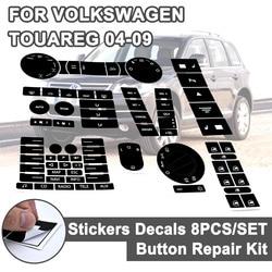 8 sztuk dla VW kierownica Windows reflektor przełącznik klimatu naklejki samochodowe dla Volkswagen Touareg 04 09 FWorn przycisk naprawy naklejki w Naklejki samochodowe od Samochody i motocykle na
