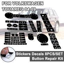 8pcs for VW Steering Wheel Windows Headlight Climate Switch Car Stickers For Volkswagen Touareg 04 09 FWorn Button Repair Decals