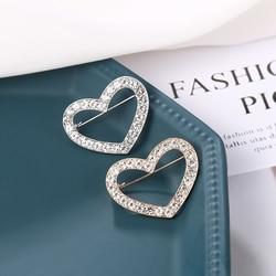 WEIMANJINGDIAN New Arrival Rhinestones Hollow Heart Brooch Dress Pins for Women