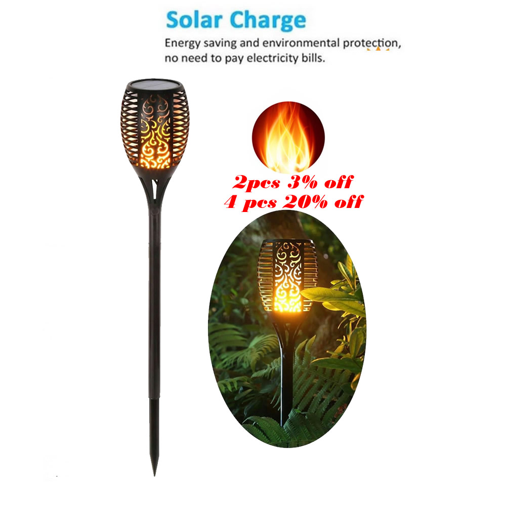 Solar Lawn Dancing Flame Torch Lights Radar 4PCS Lights 2835sm Torch Flame Lamp Flickering Bulb Dancing Lawn Lamps Path Lighting