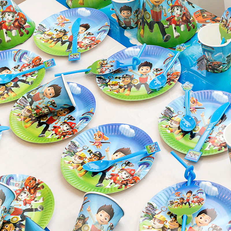 New 10pcs Paw Patrol Drinking Water Bottles Paper Cups Plate Tablecloth For 10 Kids Boys Brithday Party Decoration Supplies