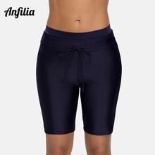 Anfilia Women Capris Pants Bikini Bottom Swim Trunks Swimwear Briefs Skinny Swimsuit Bandage Adjustable Swimming