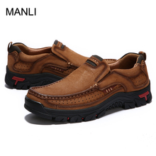 Men Genuine Leather Hiking Shoes Men Cow Leather Casual Shoes Male Outdoor Breathable Men Flats Walking Footwear Plus Size 38-48 tauntte four season genuine leather casual shoes cow leather men shoes plus size