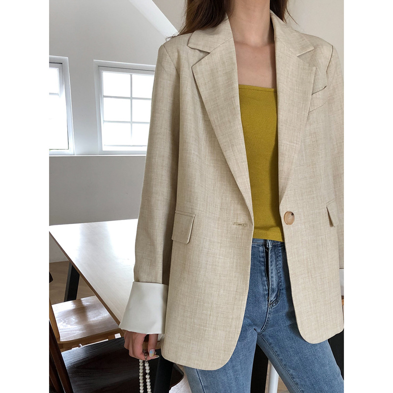 Automne femmes manteau couleur unie décontracté Slim lâche manches longues décontracté mode sauvage confortable tendance bouton couture veste femmes